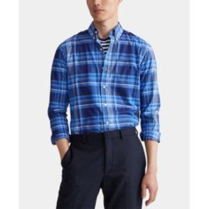 Ralph Lauren LS Classic Blue Plaid Stretch Shirt
